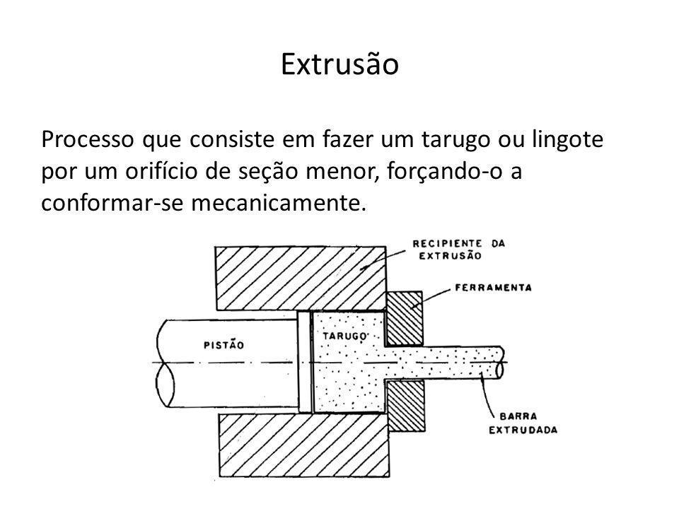 Extrusão Processo que consiste em fazer um tarugo ou lingote por um orifício de seção menor, forçando-o a conformar-se mecanicamente.