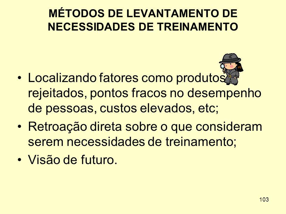 MÉTODOS DE LEVANTAMENTO DE NECESSIDADES DE TREINAMENTO