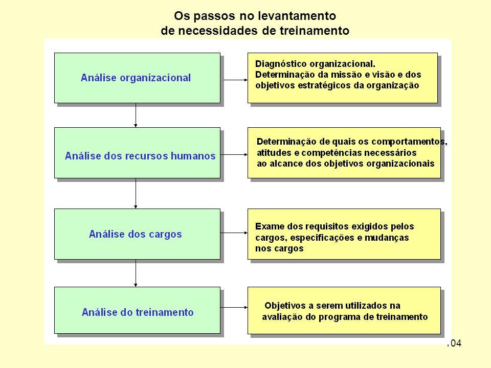 Os passos no levantamento de necessidades de treinamento