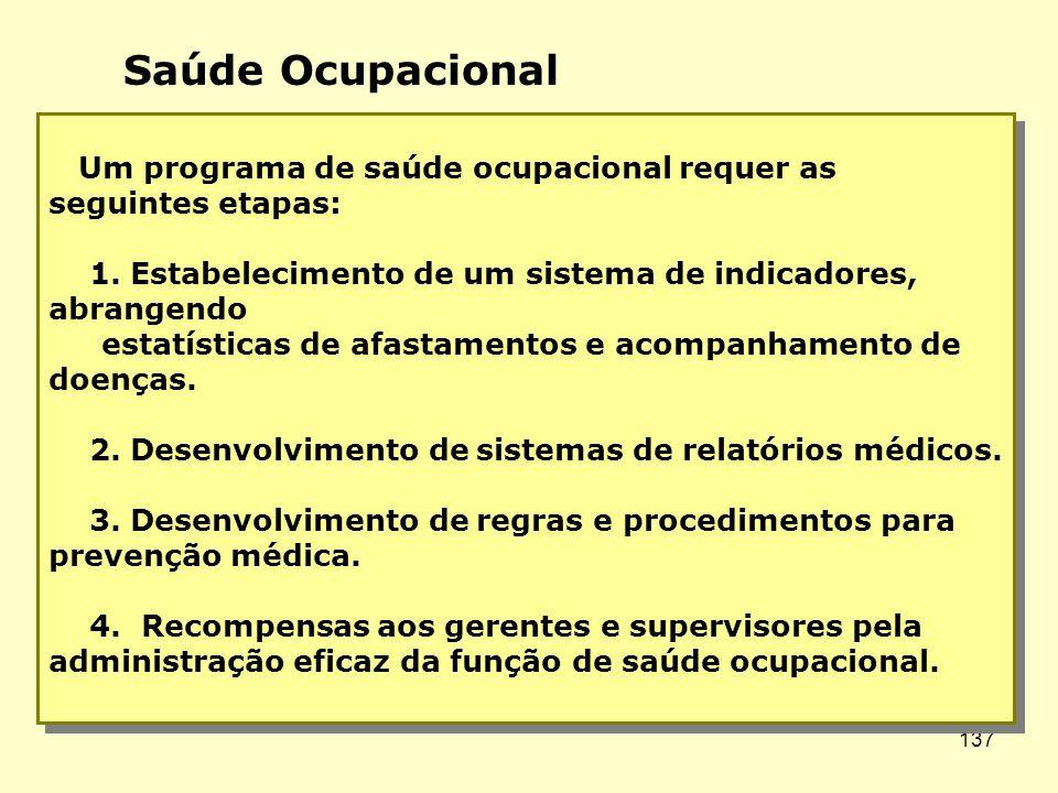 Saúde Ocupacional Um programa de saúde ocupacional requer as seguintes etapas: 1. Estabelecimento de um sistema de indicadores, abrangendo.