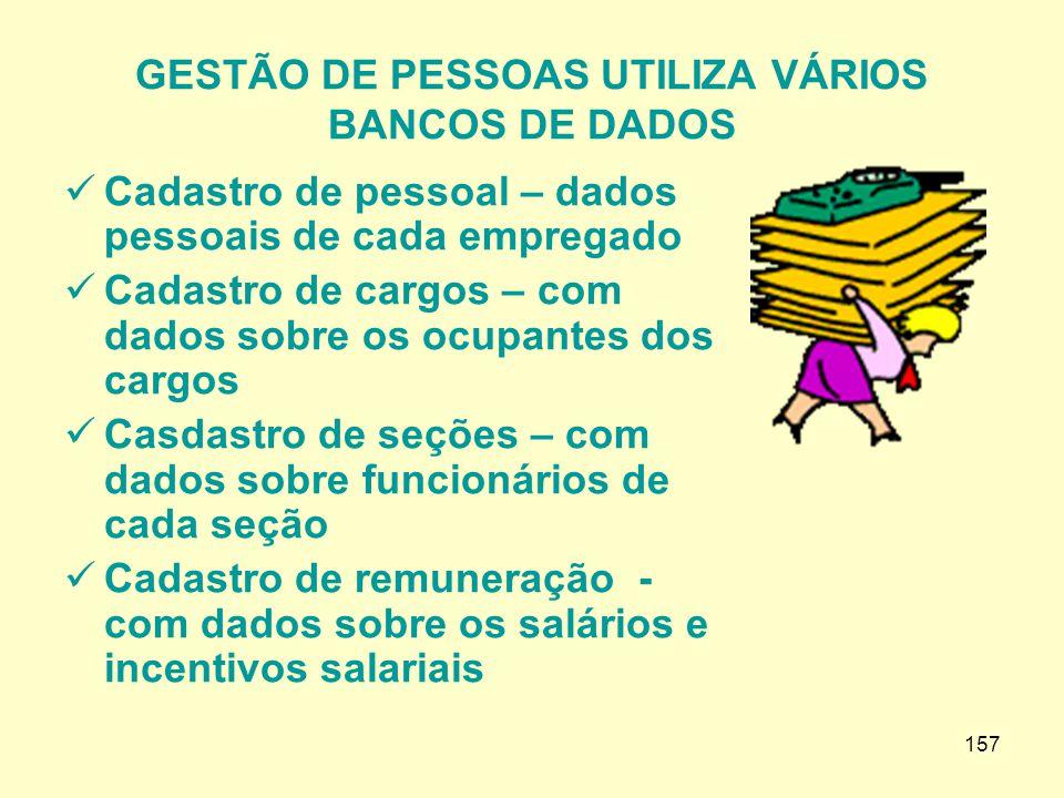 GESTÃO DE PESSOAS UTILIZA VÁRIOS BANCOS DE DADOS