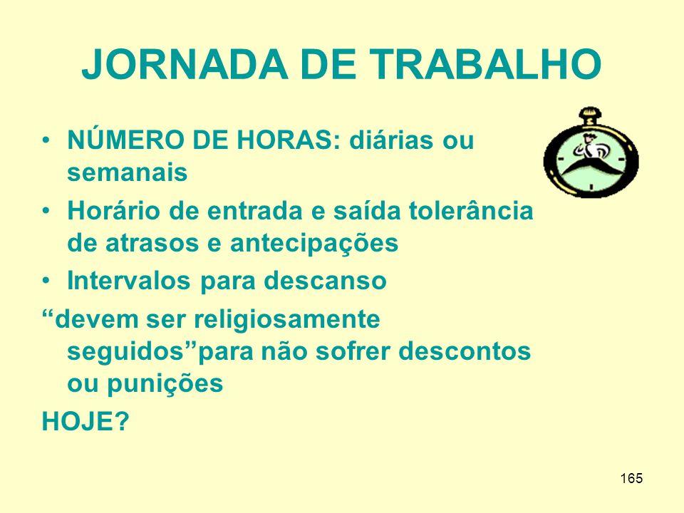 JORNADA DE TRABALHO NÚMERO DE HORAS: diárias ou semanais