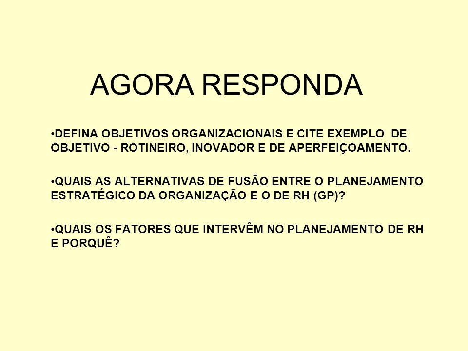 AGORA RESPONDA DEFINA OBJETIVOS ORGANIZACIONAIS E CITE EXEMPLO DE OBJETIVO - ROTINEIRO, INOVADOR E DE APERFEIÇOAMENTO.