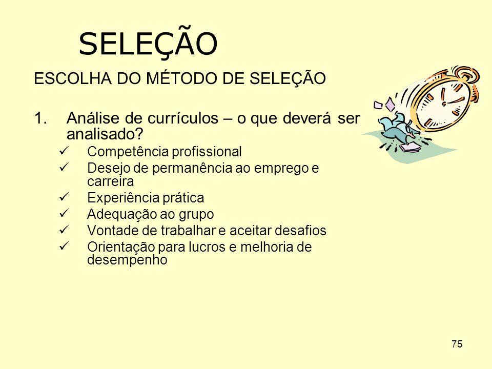 SELEÇÃO ESCOLHA DO MÉTODO DE SELEÇÃO