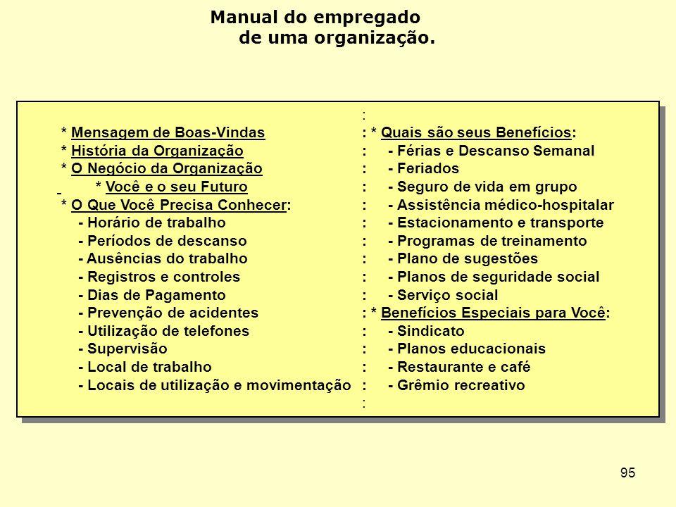 Manual do empregado de uma organização. :