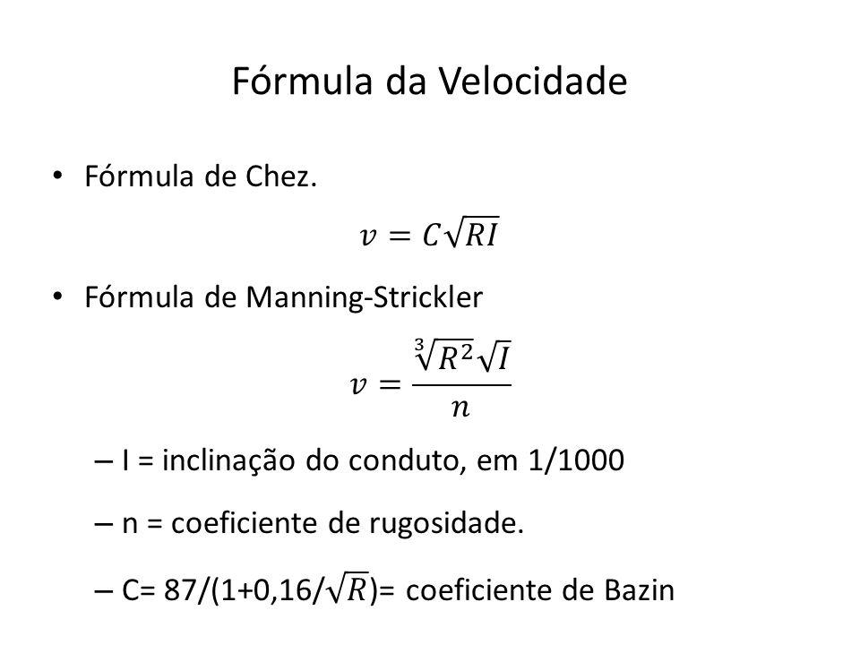 Fórmula da Velocidade Fórmula de Chez. 𝑣=𝐶 𝑅𝐼