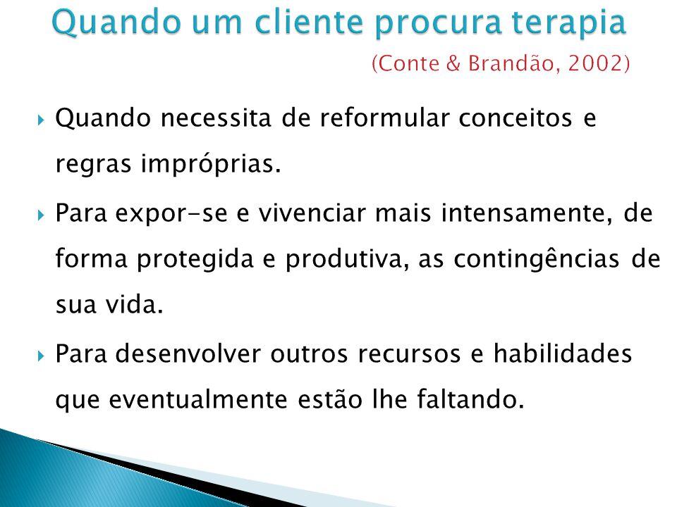 Quando um cliente procura terapia (Conte & Brandão, 2002)