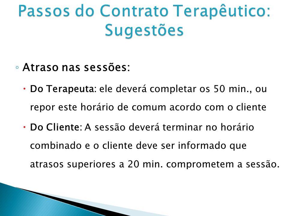 Passos do Contrato Terapêutico: Sugestões