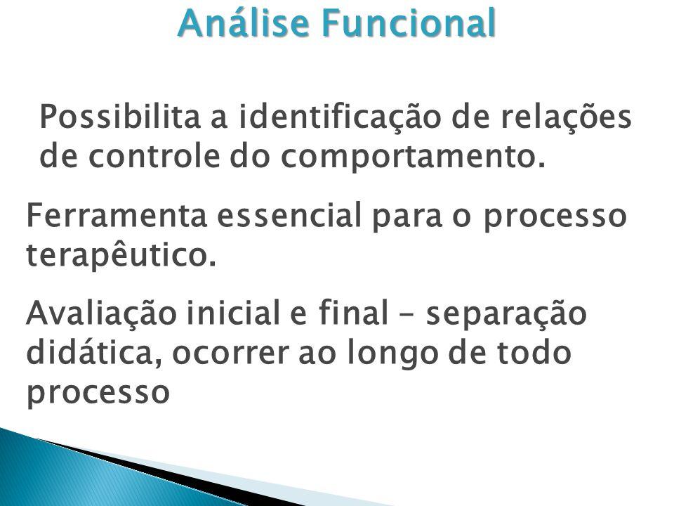Análise Funcional Possibilita a identificação de relações de controle do comportamento. Ferramenta essencial para o processo terapêutico.