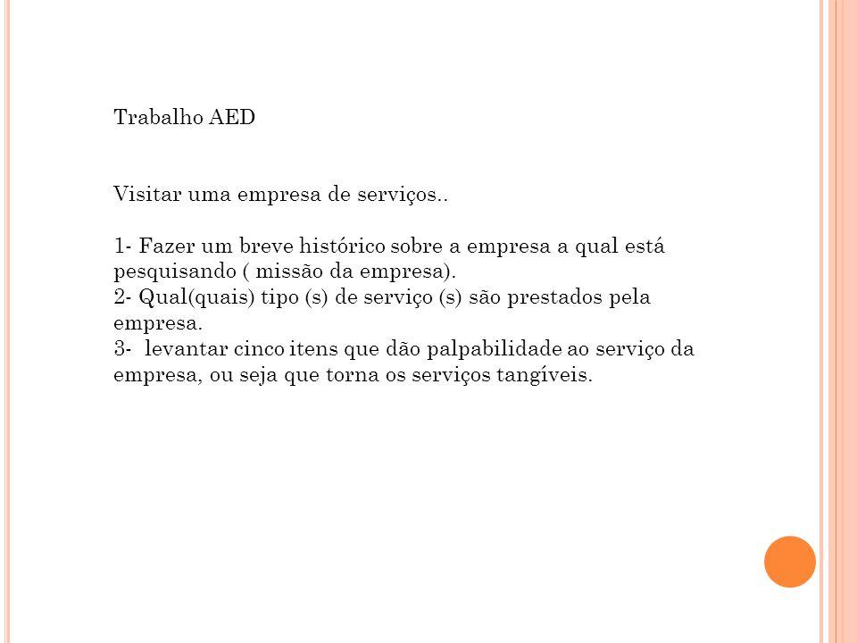 Trabalho AED Visitar uma empresa de serviços.. 1- Fazer um breve histórico sobre a empresa a qual está pesquisando ( missão da empresa).