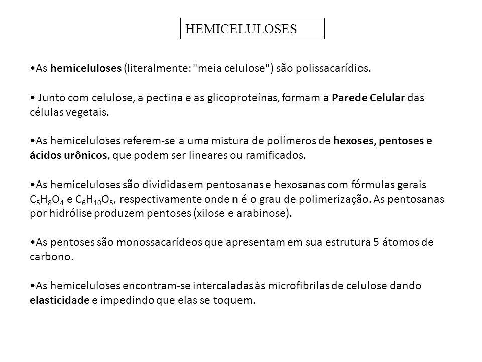 HEMICELULOSES As hemiceluloses (literalmente: meia celulose ) são polissacarídios.