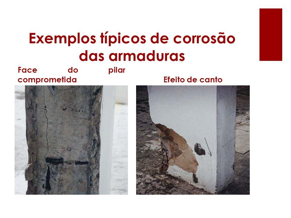 Exemplos típicos de corrosão das armaduras