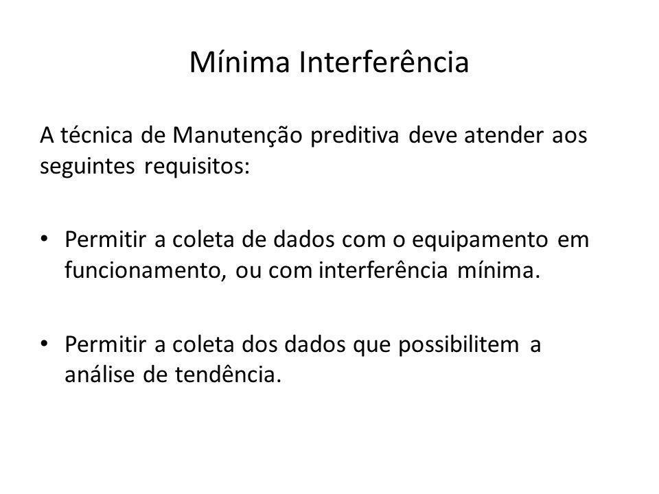 Mínima Interferência A técnica de Manutenção preditiva deve atender aos seguintes requisitos: