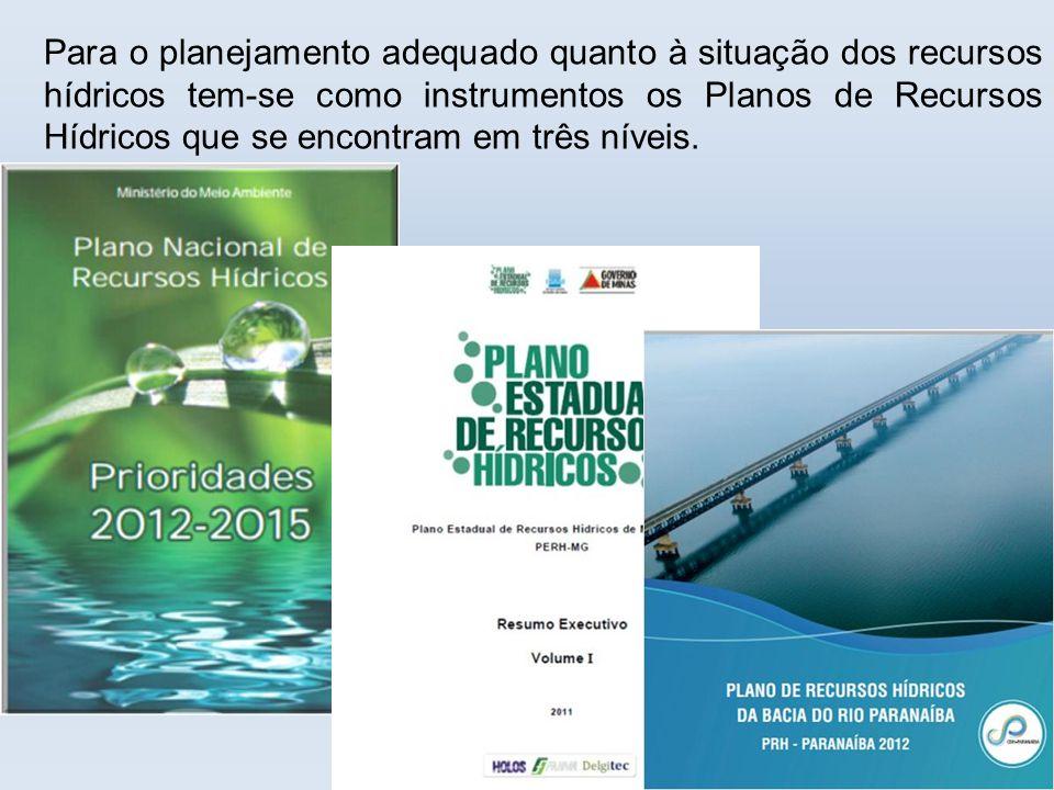 Para o planejamento adequado quanto à situação dos recursos hídricos tem-se como instrumentos os Planos de Recursos Hídricos que se encontram em três níveis.