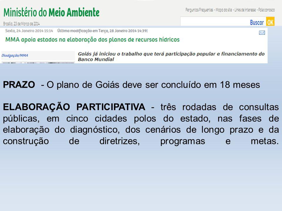 PRAZO - O plano de Goiás deve ser concluído em 18 meses