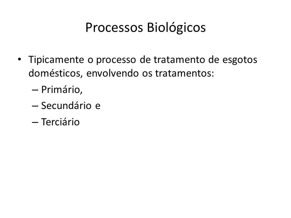 Processos Biológicos Tipicamente o processo de tratamento de esgotos domésticos, envolvendo os tratamentos: