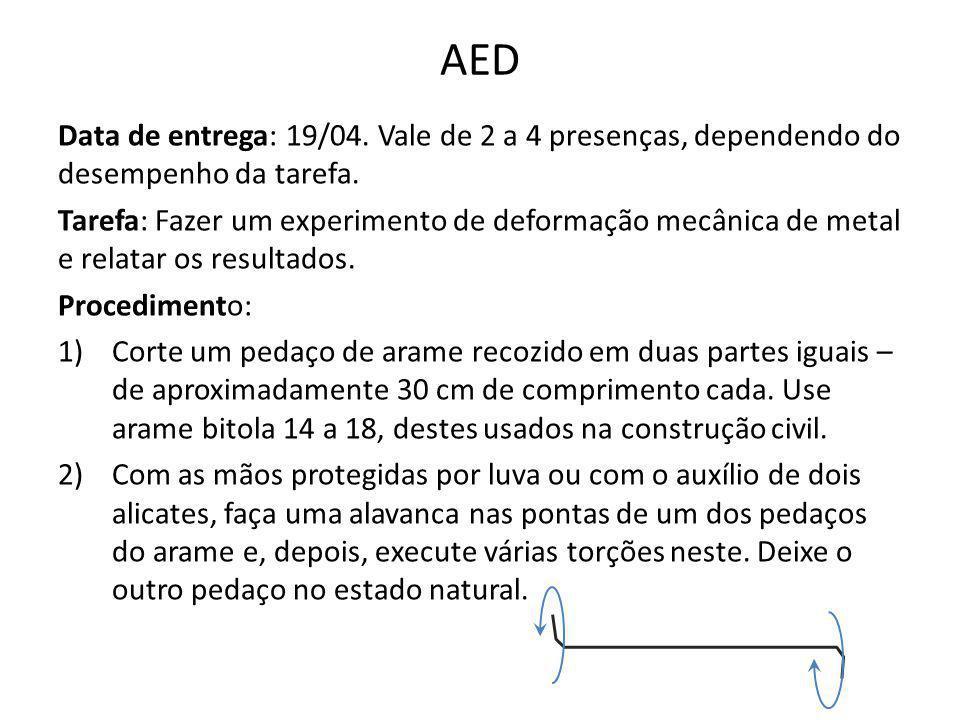 AED Data de entrega: 19/04. Vale de 2 a 4 presenças, dependendo do desempenho da tarefa.