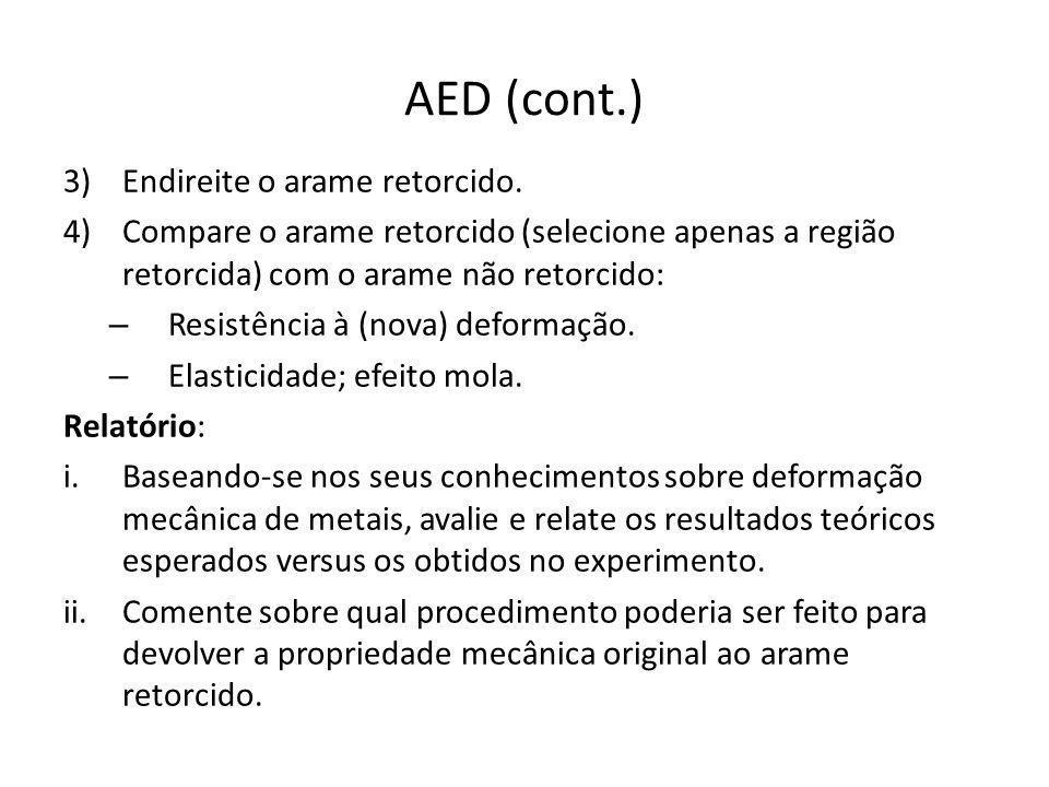 AED (cont.) Endireite o arame retorcido.