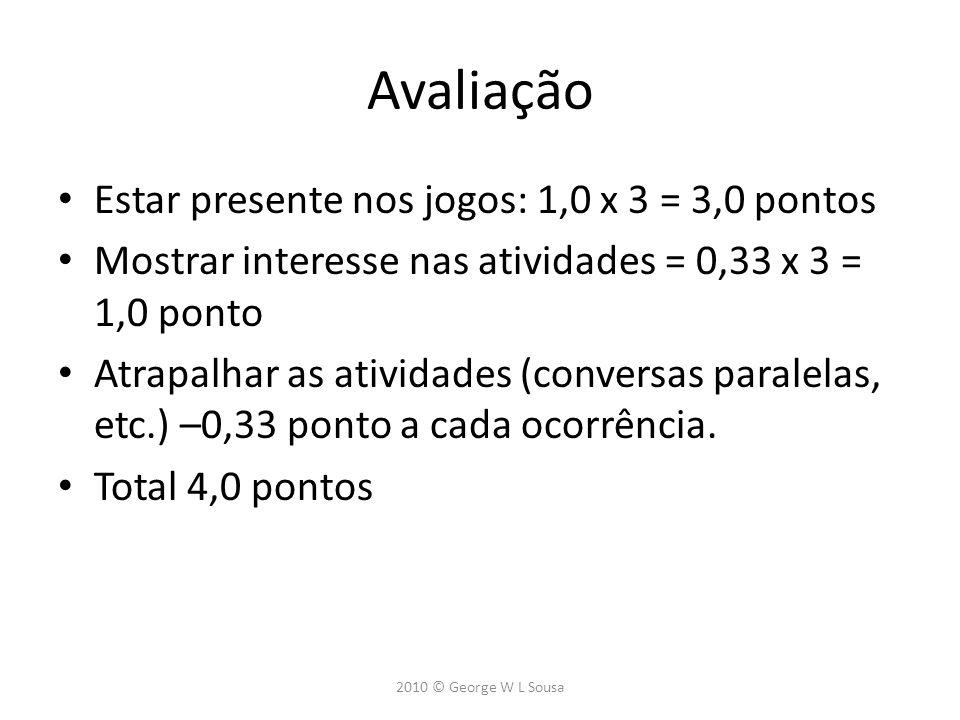 Avaliação Estar presente nos jogos: 1,0 x 3 = 3,0 pontos