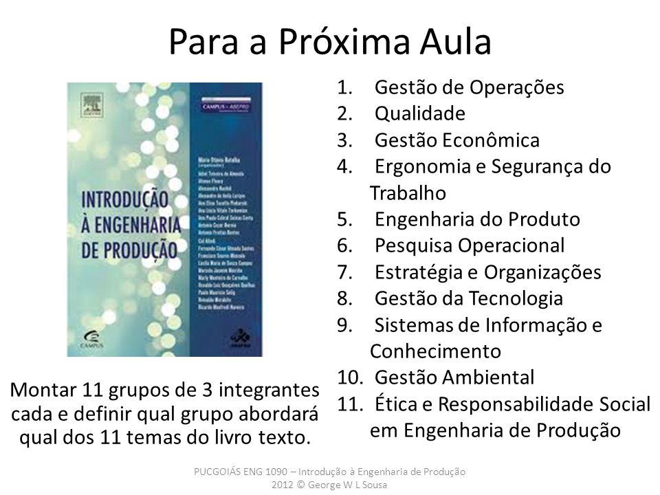 PUCGOIÁS ENG 1090 – Introdução à Engenharia de Produção