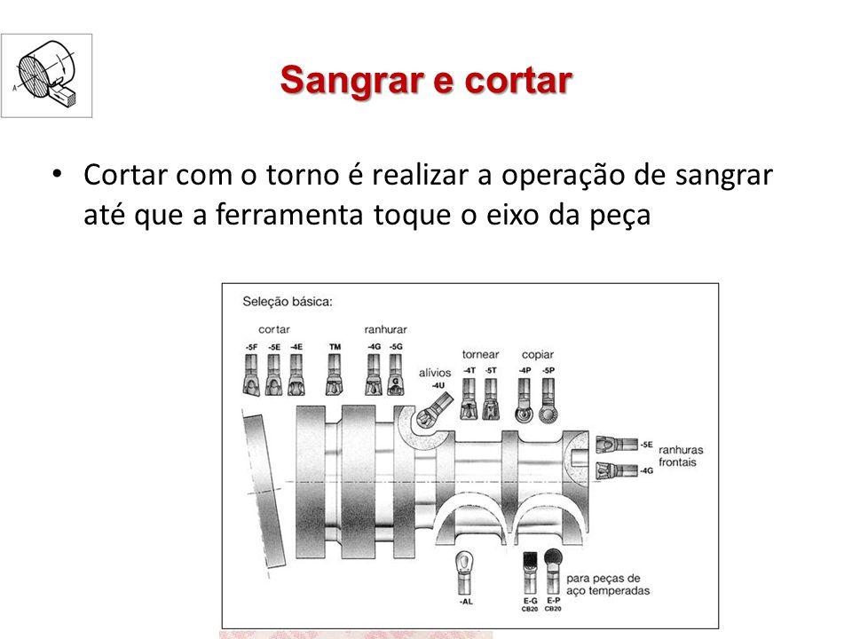 Sangrar e cortar Cortar com o torno é realizar a operação de sangrar até que a ferramenta toque o eixo da peça.