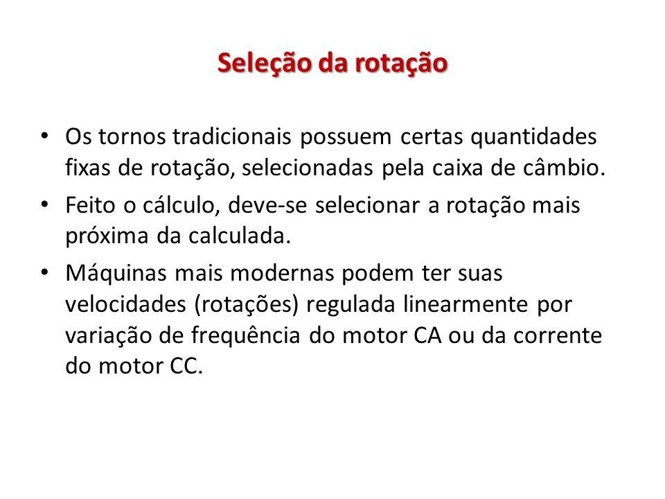 Seleção da rotação Os tornos tradicionais possuem certas quantidades fixas de rotação, selecionadas pela caixa de câmbio.