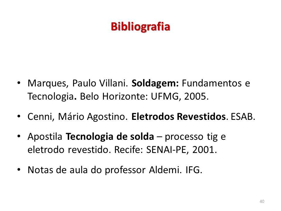 Bibliografia Marques, Paulo Villani. Soldagem: Fundamentos e Tecnologia. Belo Horizonte: UFMG, 2005.