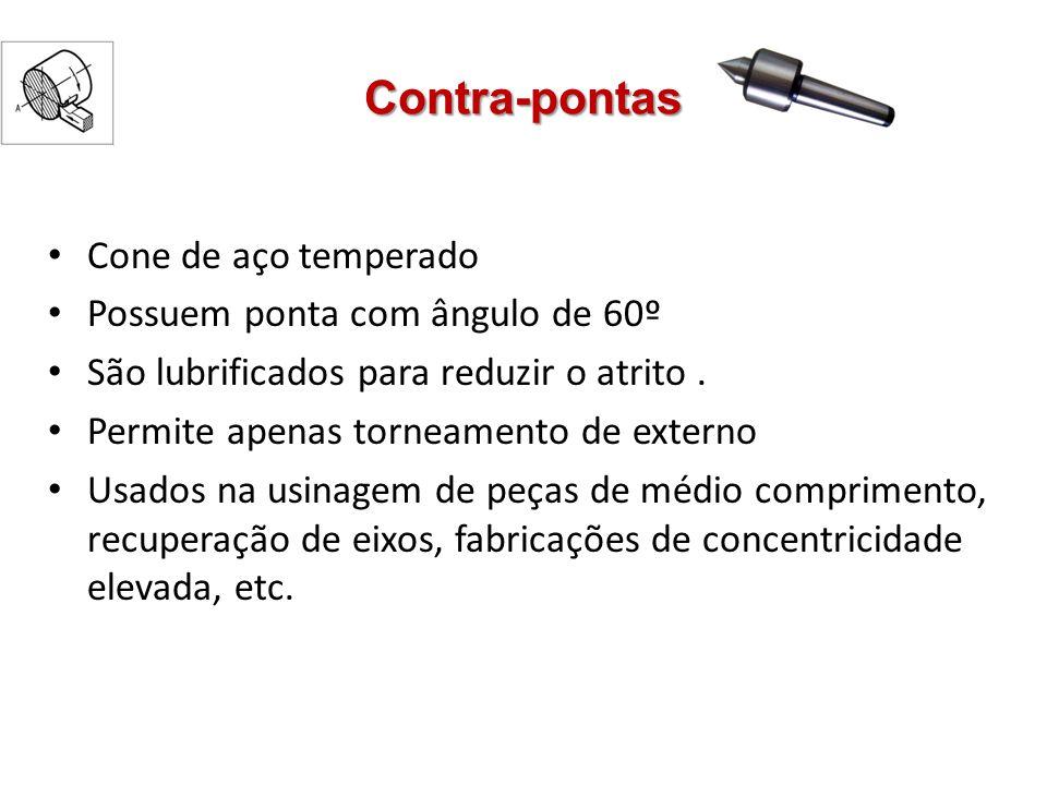 Contra-pontas Cone de aço temperado Possuem ponta com ângulo de 60º