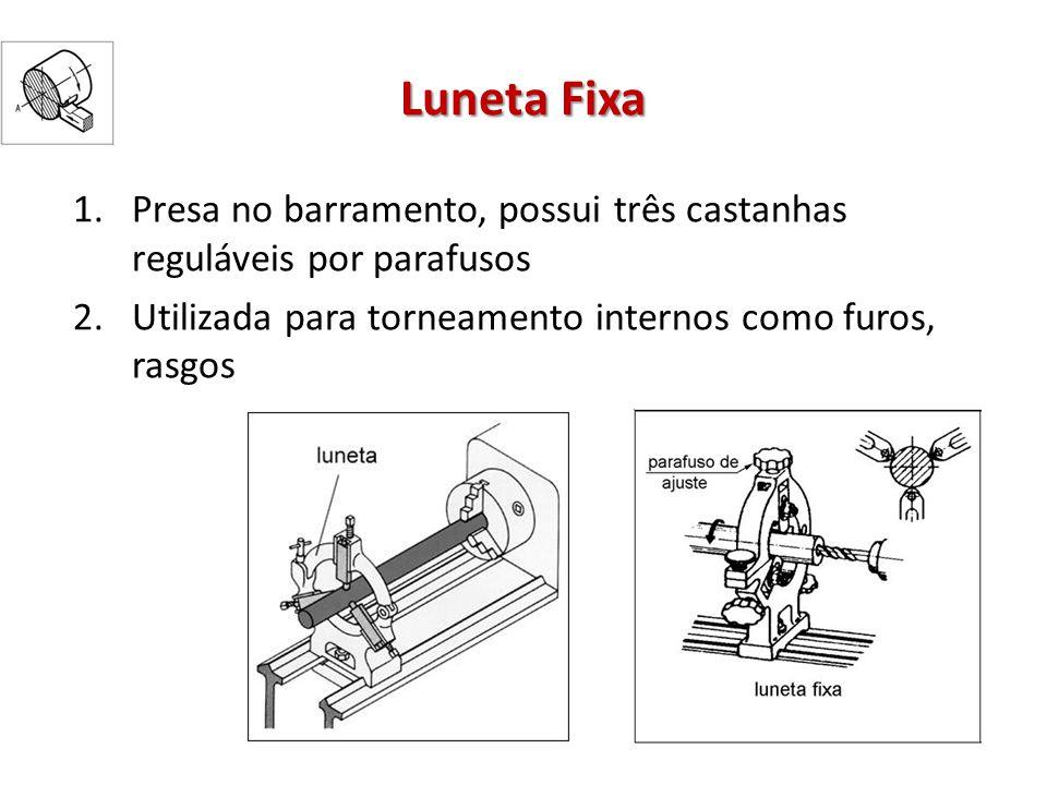 Luneta Fixa Presa no barramento, possui três castanhas reguláveis por parafusos.