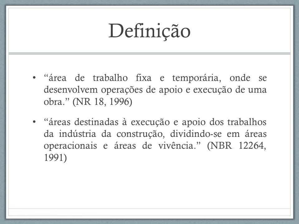Definição área de trabalho fixa e temporária, onde se desenvolvem operações de apoio e execução de uma obra. (NR 18, 1996)