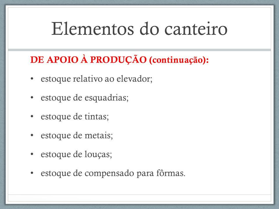 Elementos do canteiro DE APOIO À PRODUÇÃO (continuação):
