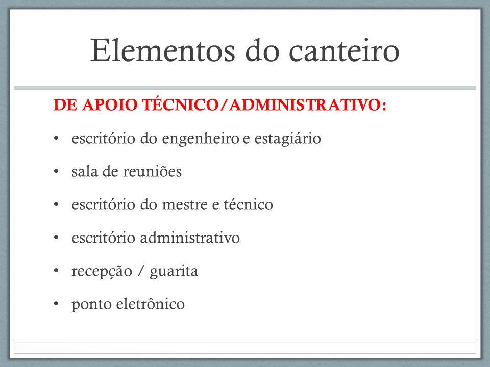 Elementos do canteiro DE APOIO TÉCNICO/ADMINISTRATIVO: