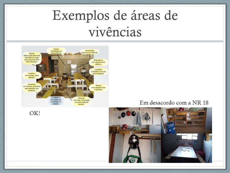 Exemplos de áreas de vivências