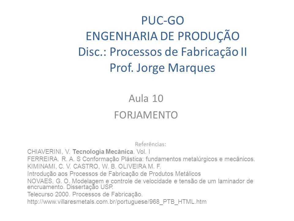 PUC-GO ENGENHARIA DE PRODUÇÃO Disc. : Processos de Fabricação II Prof