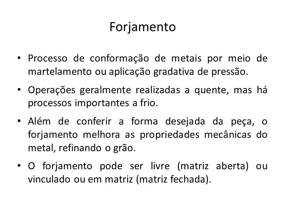 Forjamento Processo de conformação de metais por meio de martelamento ou aplicação gradativa de pressão.