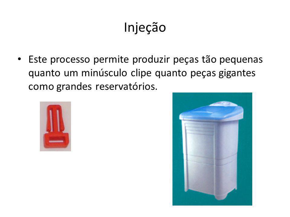 Injeção Este processo permite produzir peças tão pequenas quanto um minúsculo clipe quanto peças gigantes como grandes reservatórios.