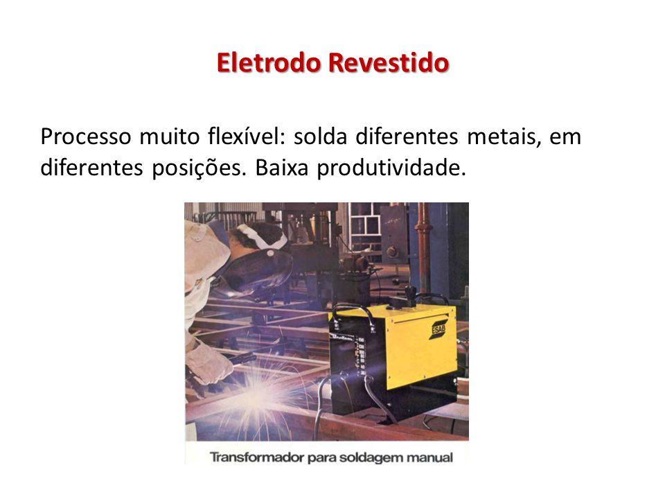 Eletrodo Revestido Processo muito flexível: solda diferentes metais, em diferentes posições.