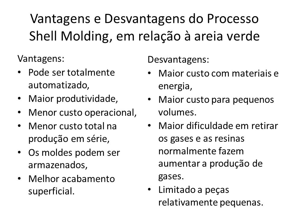 Vantagens e Desvantagens do Processo Shell Molding, em relação à areia verde