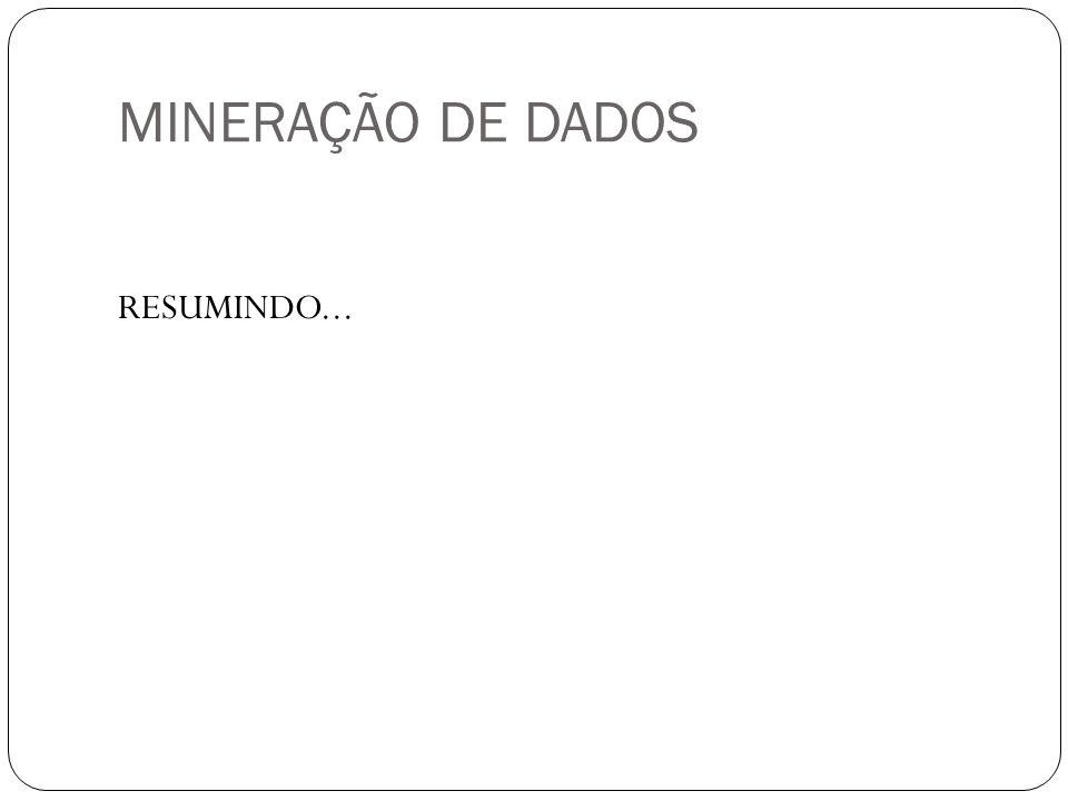 MINERAÇÃO DE DADOS RESUMINDO...
