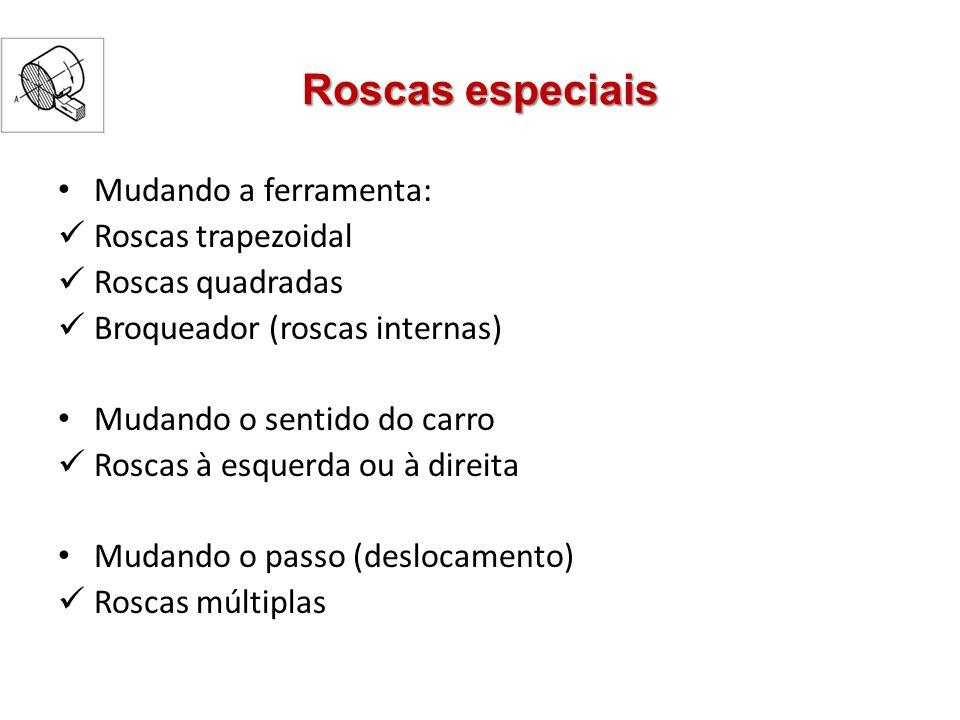 Roscas especiais Mudando a ferramenta: Roscas trapezoidal