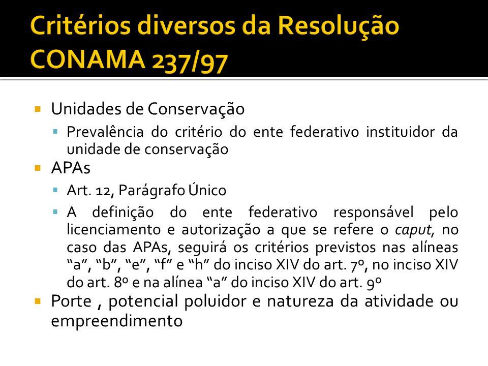 Critérios diversos da Resolução CONAMA 237/97