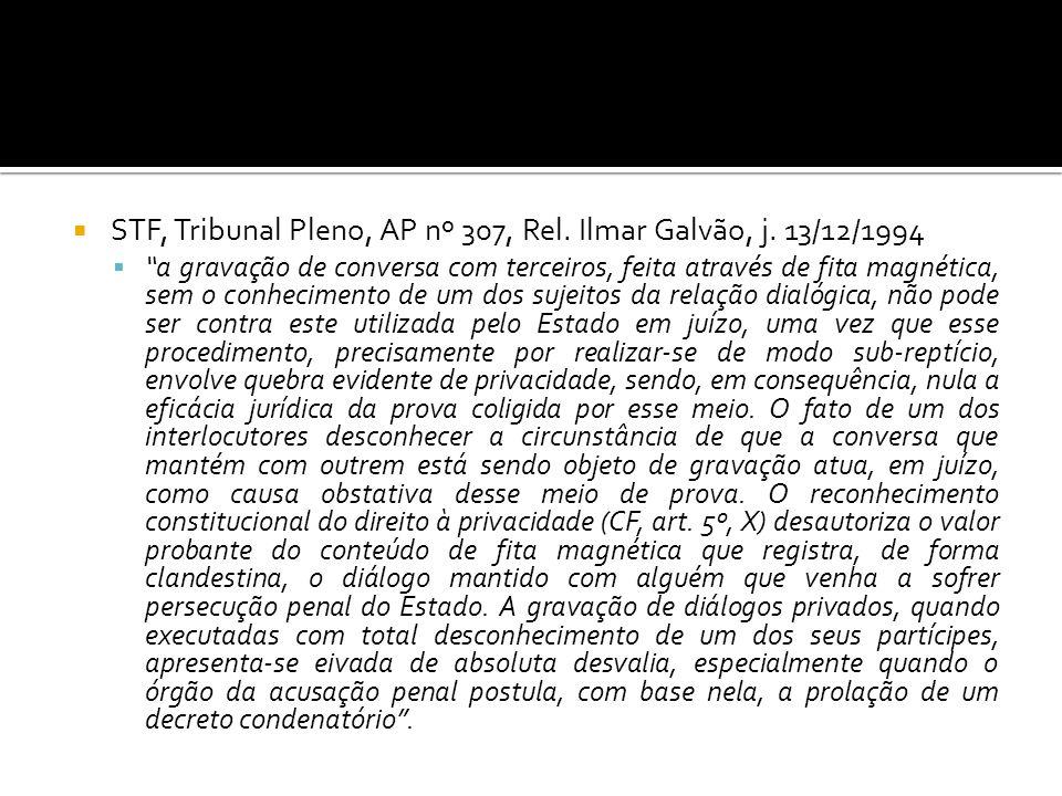 STF, Tribunal Pleno, AP nº 307, Rel. Ilmar Galvão, j. 13/12/1994