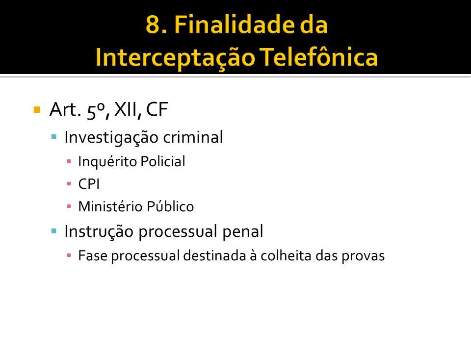 8. Finalidade da Interceptação Telefônica