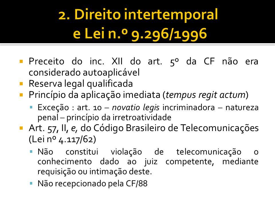 2. Direito intertemporal e Lei n.º 9.296/1996