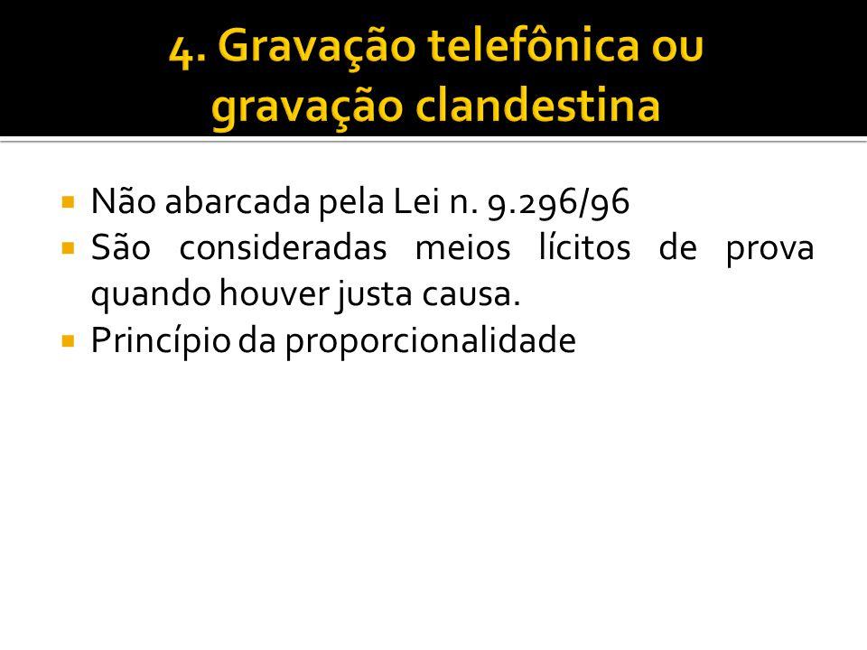4. Gravação telefônica ou gravação clandestina