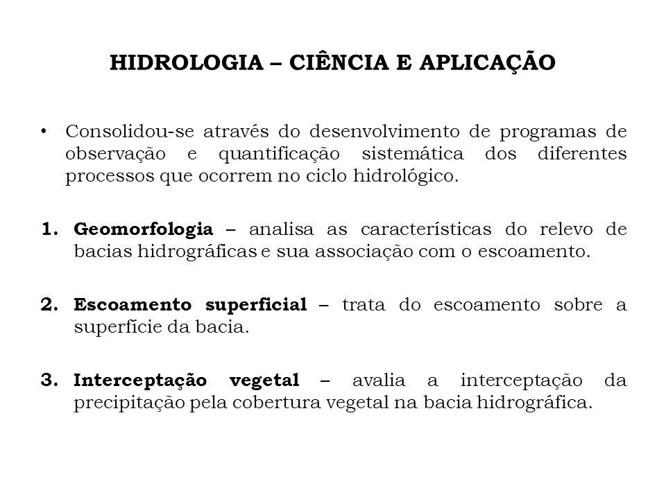 HIDROLOGIA – CIÊNCIA E APLICAÇÃO