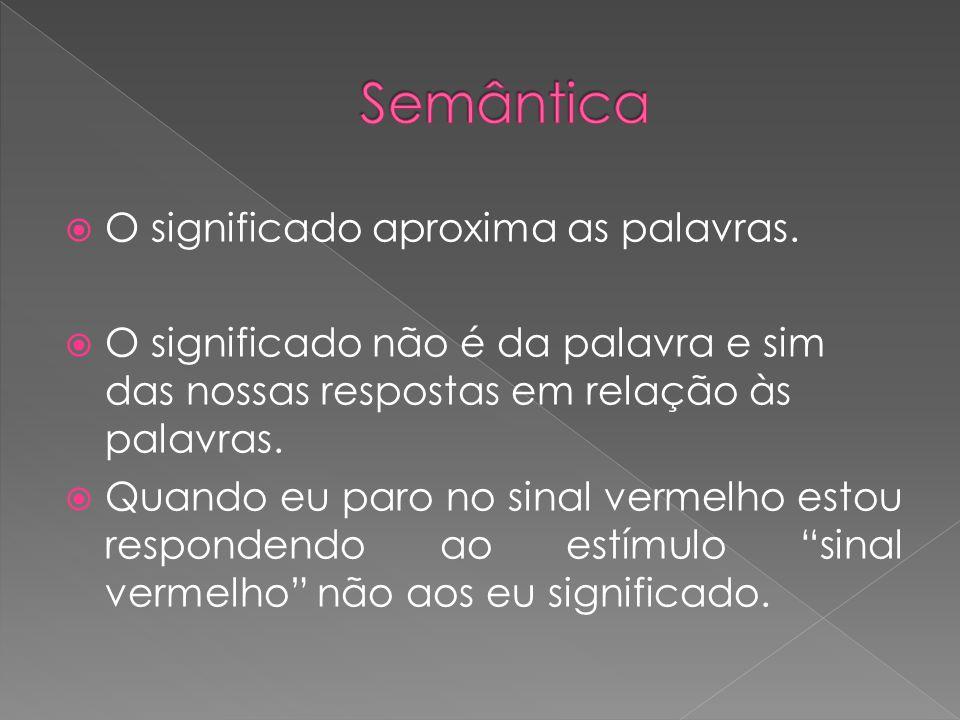 Semântica O significado aproxima as palavras.