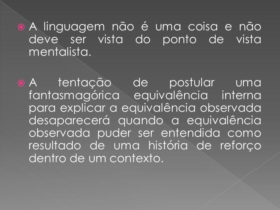 A linguagem não é uma coisa e não deve ser vista do ponto de vista mentalista.