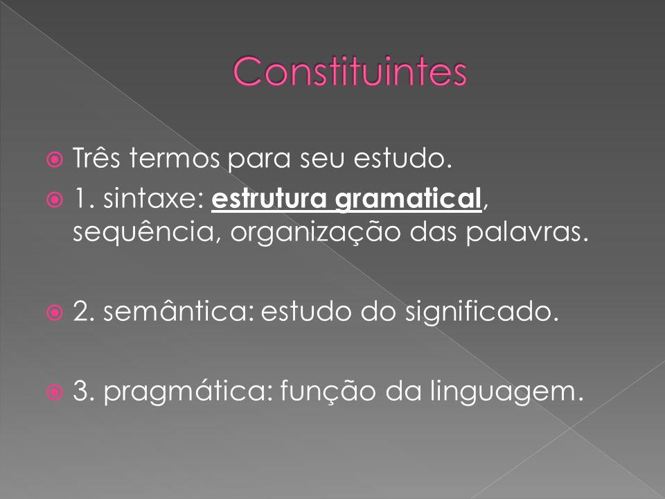 Constituintes Três termos para seu estudo.