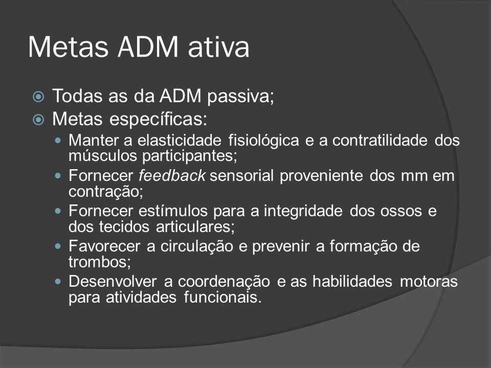 Metas ADM ativa Todas as da ADM passiva; Metas específicas: